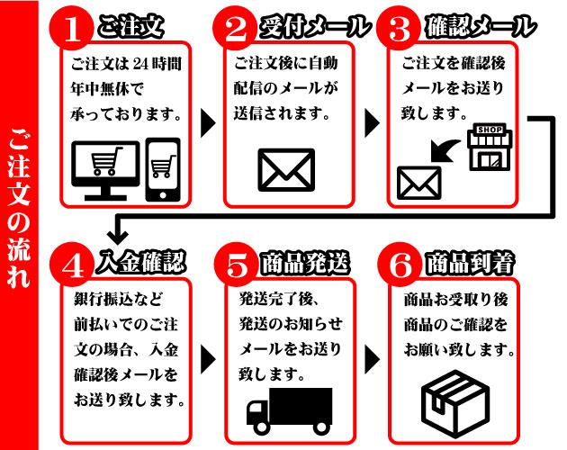 ご注文の流れ。1.ご注文。ご注文は24時間年中無休で承っております。2.受付確認メール。ご注文後に自動配信のメールが送信されます。3.ご注文確認メール。当ショップからご注文内容の確認メールをお送りいたします。4.ご入金確認メール。銀行振込など前払いでのご注文の場合、入金確認後メールをお送りいたします。5.商品発送。発送完了後、発送のお知らせメールをお送りいたします。6.商品到着。商品お受け取り後、商品のご確認をお願いいたします。